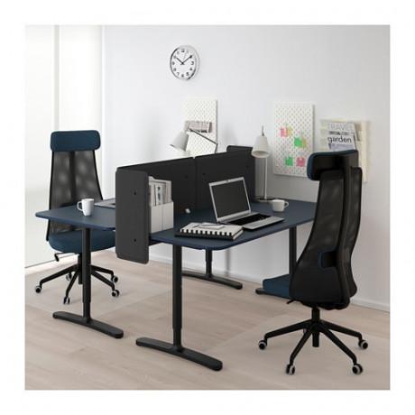 Стол с экраном БЕКАНТ линолеум синий, черный фото 5