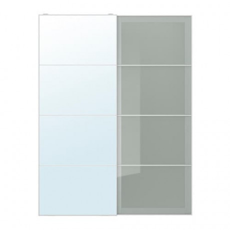 Пара раздвижных дверей АУЛИ / СЭККЕН зеркальное стекло, матовое стекло фото 4