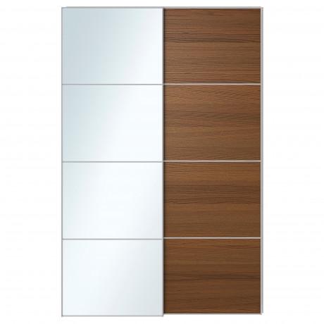Пара раздвижных дверей АУЛИ / ИЛЬСЕНГ зеркальное стекло, коричневая морилка ясеневый шпон  фото 1
