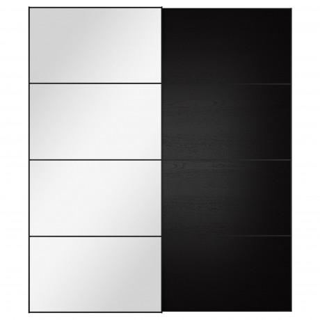 Пара раздвижных дверей АУЛИ / ИЛЬСЕНГ зеркальное стекло, черно-коричневый фото 8