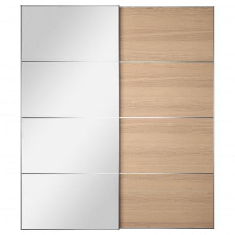 Пара раздвижных дверей АУЛИ / ИЛЬСЕНГ зеркальное стекло, дубовый шпон, беленый фото 2