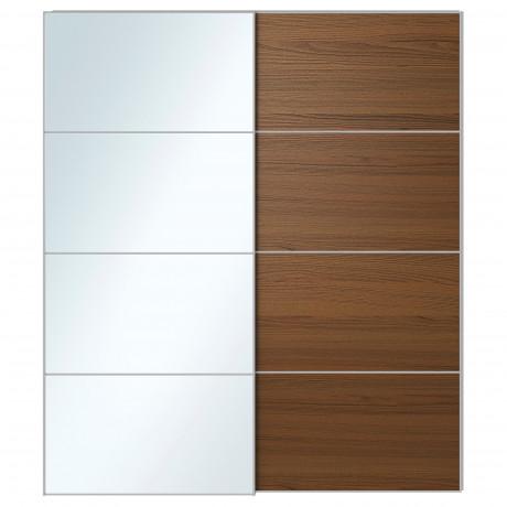 Пара раздвижных дверей АУЛИ / ИЛЬСЕНГ зеркальное стекло, коричневая морилка ясеневый шпон фото 4