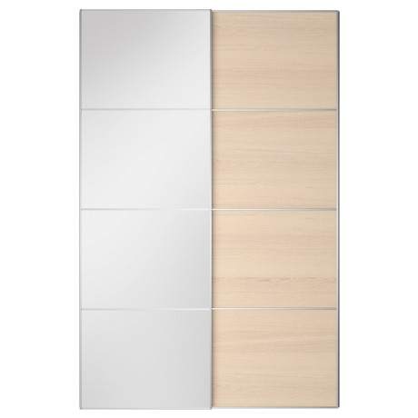 Пара раздвижных дверей АУЛИ / ИЛЬСЕНГ зеркальное стекло, дубовый шпон, беленый фото 0