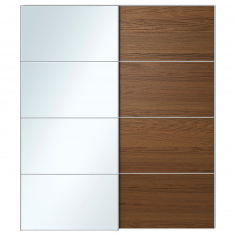Пара раздвижных дверей АУЛИ / ИЛЬСЕНГ зеркальное стекло, коричневая морилка ясеневый шпон фото 3