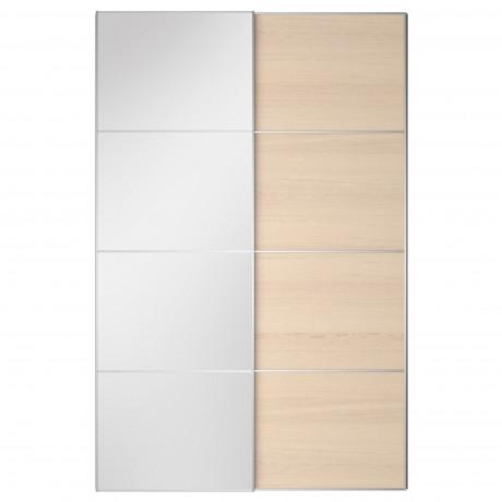 Пара раздвижных дверей АУЛИ / ИЛЬСЕНГ зеркальное стекло, дубовый шпон, беленый  фото 1