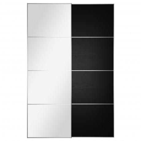 Пара раздвижных дверей АУЛИ / ИЛЬСЕНГ зеркальное стекло, черно-коричневый фото 1