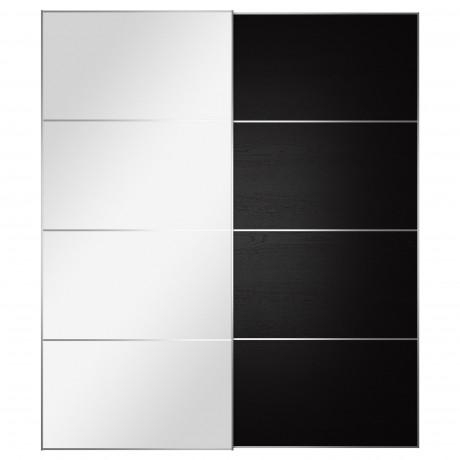 Пара раздвижных дверей АУЛИ / ИЛЬСЕНГ зеркальное стекло, черно-коричневый фото 5