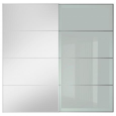 Пара раздвижных дверей АУЛИ / СЭККЕН зеркальное стекло, матовое стекло фото 3