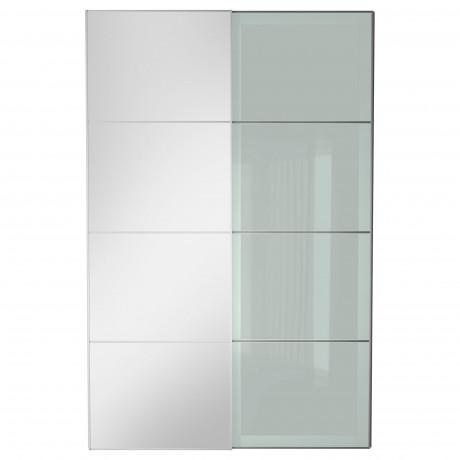 Пара раздвижных дверей АУЛИ / СЭККЕН зеркальное стекло, матовое стекло фото 1