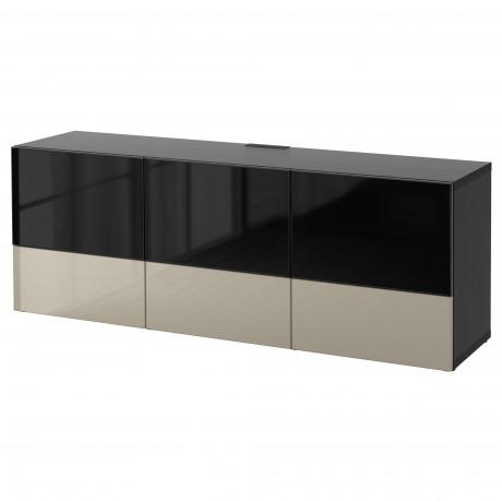 Тумба под ТВ, с дверцами и ящиками БЕСТО под беленый дуб, Вальвикен серо-бирюзовый, прозрачное стекло фото 50