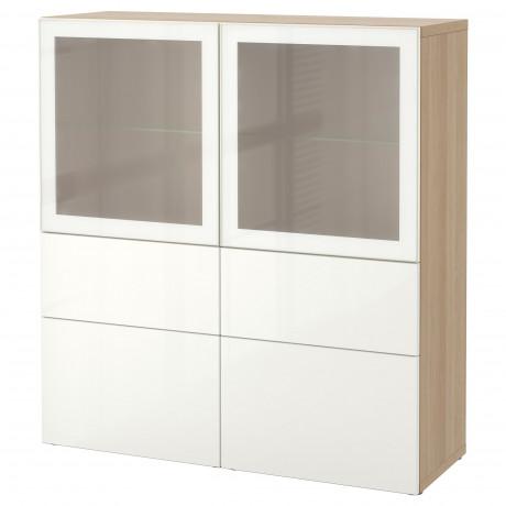 Комбинация д/хранения+стекл дверц БЕСТО белый, вассвикен белый прозрачное стекло фото 39