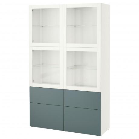 Комбинация д/хранения+стекл дверц БЕСТО Лаппвикен, Синдвик белый прозрачное стекло фото 57