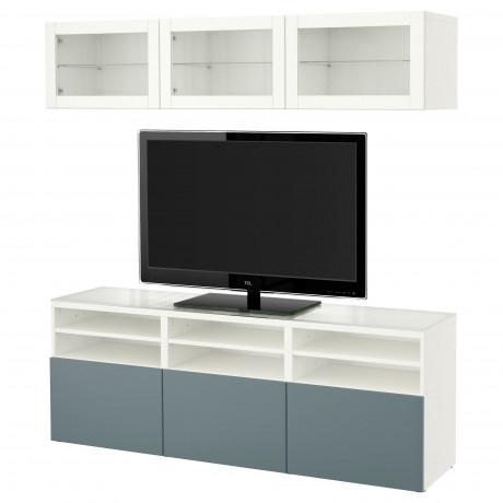 Шкаф для ТВ, комбин/стеклян дверцы БЕСТО Лаппвикен, Синдвик белый прозрачное стекло фото 14