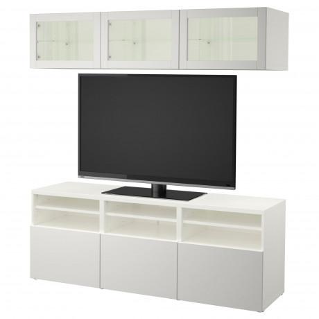 Шкаф для ТВ, комбин/стеклян дверцы БЕСТО Лаппвикен, Синдвик белый прозрачное стекло фото 7