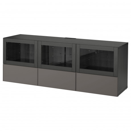 Тумба под ТВ, с дверцами и ящиками БЕСТО под беленый дуб, Вальвикен серо-бирюзовый, прозрачное стекло фото 28