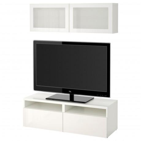 Шкаф для ТВ, комбин/стеклян дверцы БЕСТО под беленый дуб, Сельсвикен глянцевый/белый матовое стекло фото 58