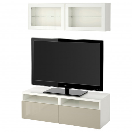 Шкаф для ТВ, комбин/стеклян дверцы БЕСТО под беленый дуб, Сельсвикен глянцевый/белый матовое стекло фото 40