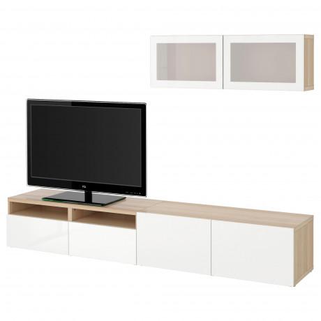 Шкаф для ТВ, комбин/стеклян дверцы БЕСТО Лаппвикен, Синдвик белый прозрачное стекло фото 49