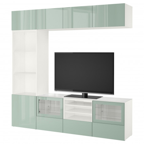 Шкаф для ТВ, комбин/стеклян дверцы БЕСТО Лаппвикен, Синдвик белый прозрачное стекло фото 19