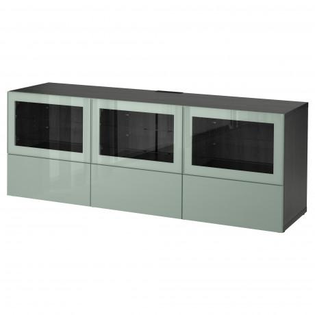 Тумба под ТВ, с дверцами и ящиками БЕСТО под беленый дуб, Вальвикен серо-бирюзовый, прозрачное стекло фото 46