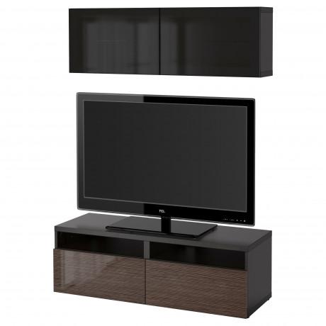 Шкаф для ТВ, комбин/стеклян дверцы БЕСТО под беленый дуб, Сельсвикен глянцевый/белый матовое стекло фото 54