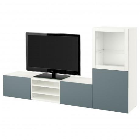 Шкаф для ТВ, комбин/стеклян дверцы БЕСТО Лаппвикен, Синдвик белый прозрачное стекло фото 40