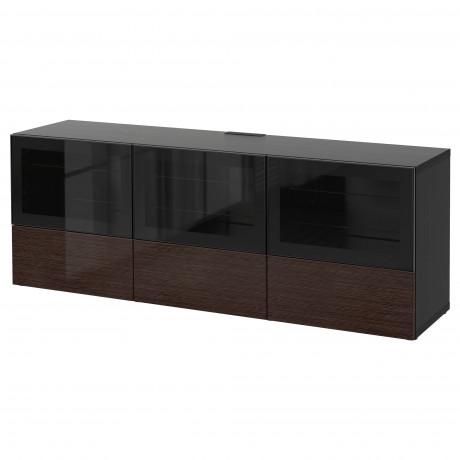 Тумба под ТВ, с дверцами и ящиками БЕСТО под беленый дуб, Вальвикен серо-бирюзовый, прозрачное стекло фото 48