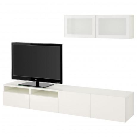 Шкаф для ТВ, комбин/стеклян дверцы БЕСТО Лаппвикен, Синдвик белый прозрачное стекло фото 60
