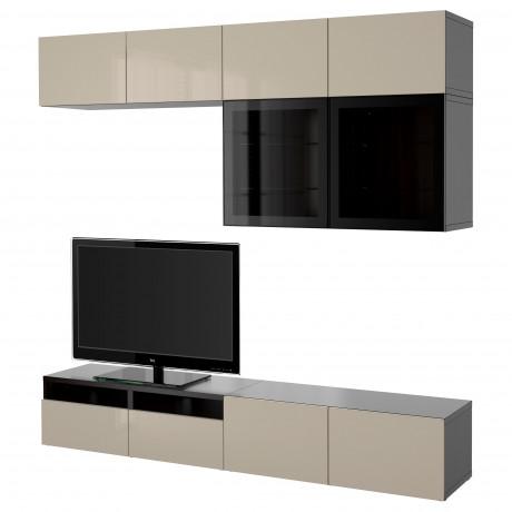 Шкаф для ТВ, комбин/стеклян дверцы БЕСТО Лаппвикен, Синдвик белый прозрачное стекло фото 22