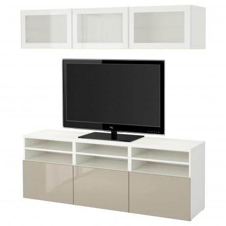 Шкаф для ТВ, комбин/стеклян дверцы БЕСТО Лаппвикен, Синдвик белый прозрачное стекло фото 55
