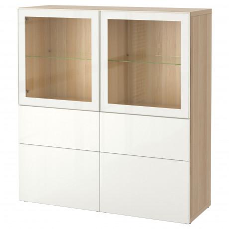 Комбинация д/хранения+стекл дверц БЕСТО белый, вассвикен белый прозрачное стекло фото 48