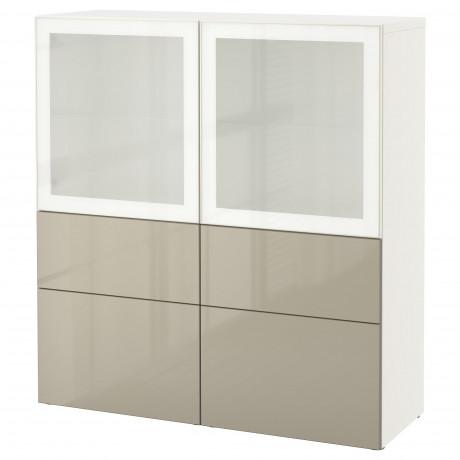 Комбинация д/хранения+стекл дверц БЕСТО белый, вассвикен белый прозрачное стекло фото 50