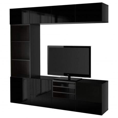 Шкаф для ТВ, комбин/стеклян дверцы БЕСТО Лаппвикен, Синдвик белый прозрачное стекло фото 29