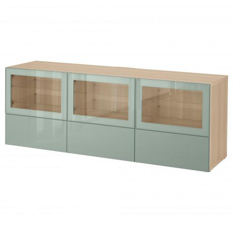 Тумба под ТВ, с дверцами и ящиками БЕСТО под беленый дуб, Вальвикен серо-бирюзовый, прозрачное стекло фото 33