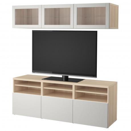 Шкаф для ТВ, комбин/стеклян дверцы БЕСТО Лаппвикен, Синдвик белый прозрачное стекло фото 3
