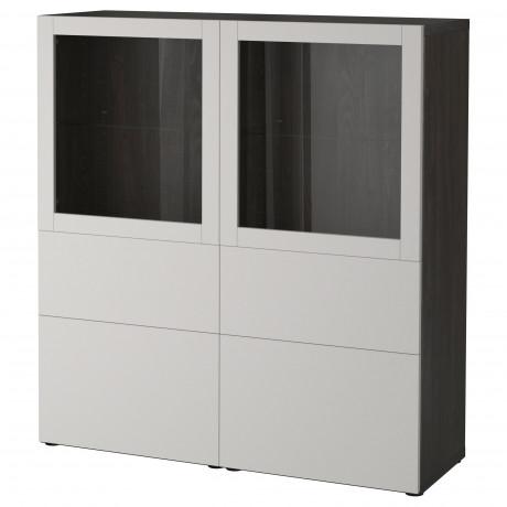 Комбинация д/хранения+стекл дверц БЕСТО белый, вассвикен белый прозрачное стекло фото 6