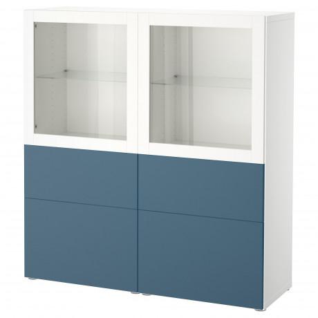 Комбинация д/хранения+стекл дверц БЕСТО белый, вассвикен белый прозрачное стекло фото 12