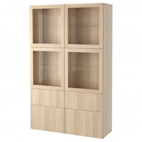 Комбинация д/хранения+стекл дверц БЕСТО Лаппвикен, Синдвик белый прозрачное стекло фото 1