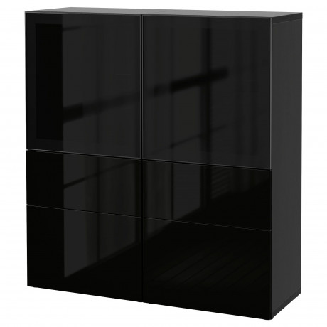 Комбинация д/хранения+стекл дверц БЕСТО белый, вассвикен белый прозрачное стекло фото 32