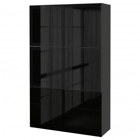 Комбинация д/хранения+стекл дверц БЕСТО Лаппвикен, Синдвик белый прозрачное стекло фото 53