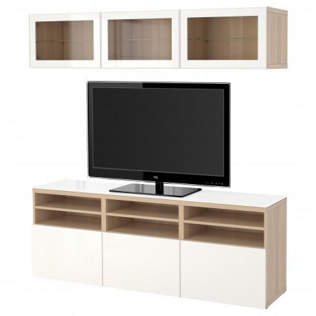Шкаф для ТВ, комбин/стеклян дверцы БЕСТО Лаппвикен, Синдвик белый прозрачное стекло фото 25