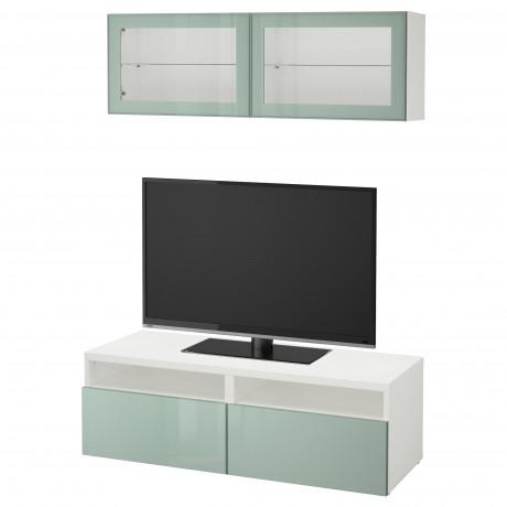 Шкаф для ТВ, комбин/стеклян дверцы БЕСТО под беленый дуб, Сельсвикен глянцевый/белый матовое стекло фото 32