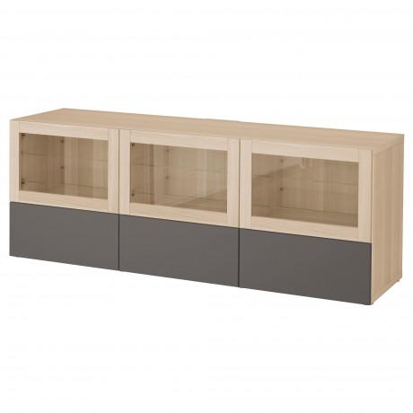 Тумба под ТВ, с дверцами и ящиками БЕСТО под беленый дуб, Вальвикен серо-бирюзовый, прозрачное стекло фото 36