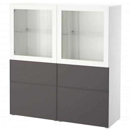 Комбинация д/хранения+стекл дверц БЕСТО белый, вассвикен белый прозрачное стекло фото 17