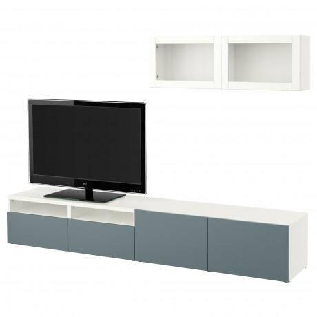 Шкаф для ТВ, комбин/стеклян дверцы БЕСТО Лаппвикен, Синдвик белый прозрачное стекло фото 21
