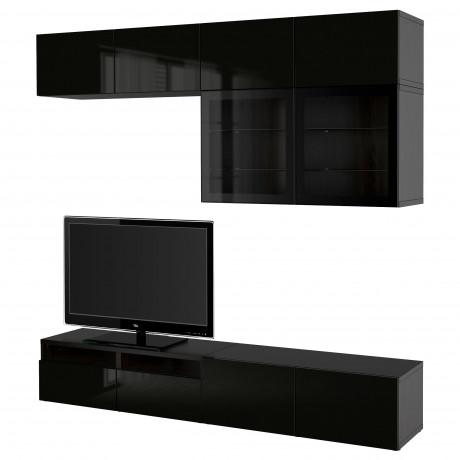 Шкаф для ТВ, комбин/стеклян дверцы БЕСТО Лаппвикен, Синдвик белый прозрачное стекло фото 24