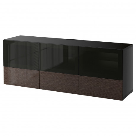 Тумба под ТВ, с дверцами и ящиками БЕСТО под беленый дуб, Вальвикен серо-бирюзовый, прозрачное стекло фото 60