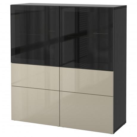 Комбинация д/хранения+стекл дверц БЕСТО белый, вассвикен белый прозрачное стекло фото 30