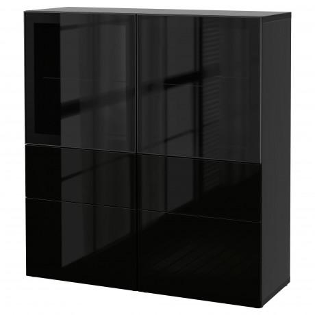 Комбинация д/хранения+стекл дверц БЕСТО белый, вассвикен белый прозрачное стекло фото 45