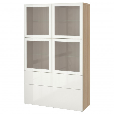 Комбинация д/хранения+стекл дверц БЕСТО Лаппвикен, Синдвик белый прозрачное стекло фото 64